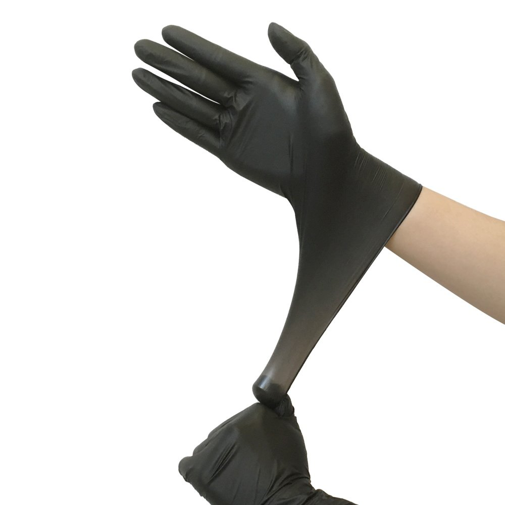 Black Nitrile Exam Gloves - PROMEDIX - Disposable Gloves Powder Free Gloves, Latex Free Gloves Pack of 100 (L)