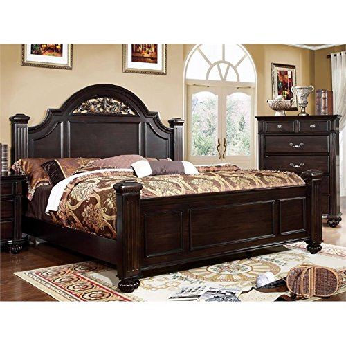 HOMES: Inside + Out ioHOMES Malierd Transitional Fluted Poster Bed, King, Dark Walnut