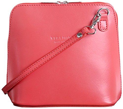 Italian Leather, Orange Pink Small/Micro Cross Body Bag or Shoulder Bag Handbag. Includes Branded a Protective Storage - Pink Italian Handbag