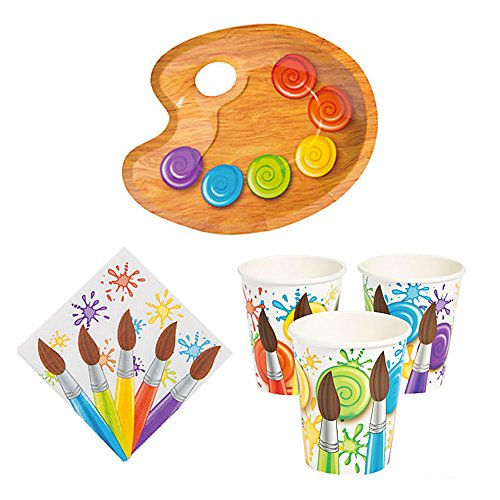 Oriental Trading Painting Artist Party Supplies Serves 16 Guests - Art Paint Palette Design Plates Napkins and Cups ()