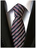 Allbebe Men's Classic Striped Blue Red Jacquard Woven Silk Tie Formal Necktie