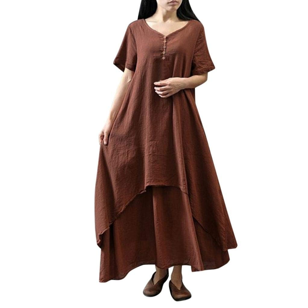 MODOQO Women's Short Sleeve Tops,Natural Soild Casual Vintage Long Dress,Plus Size Blouse Dress Daily Life,L-5XL Autumn