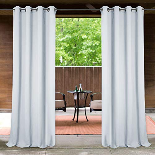 StangH Outdoor Lanai Curtain White – Outside Waterproof & Blackout Curtain Panel for Outdoor Decor Privacy Patio Curtain for Courtyard/Beach Room/Cabana, W52 x L84-inch, Greyish White, 1 Piece