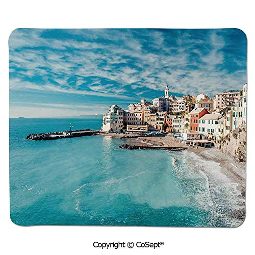 Fruit Charm Italian (Non-Slip Rubber Base Mousepad,Panorama of Old Italian Fish Village Beach Old Province Coastal Charm Image,Water-Resistant,Non-Slip Base,Ideal for Gaming (11.81