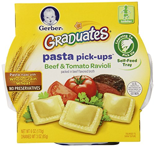 Gerber Graduates Pasta Pick-Ups Ravioli, Beef and Tomato, 6 Ounce, 8 Count