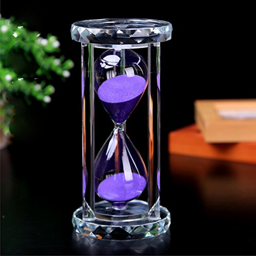 SZAT Hourglass Sand Timer Clock Romantic Mantel Office Desk Coffee Table Book Shelf Curio Cabinet Christmas Birthday Present Gift Box Package(Purple,Crystal,30 Minutes) (30 1 Clock)