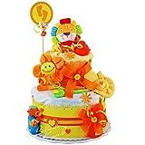 Windeltorte / Pamperstorte ></noscript> Babygeschenk für Mädchen und Jungen in schönem Orange-Gelbton // Geschenk zur Geburt, Taufe, Babyparty // originelles und praktisches Geschenk für Babys