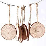 AerWo 50pcs Hanging Wood Slices + 50pcs Twines, Unpainted Natural Round Blank Wood Slices, DIY Craft Rustic Wedding Decoration Vintage Wedding Ornaments