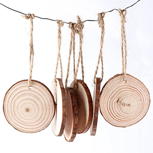 AerWo 50pcs Hanging Wood Slices + 50pcs Twines, Unfinished Natural Round Wood Slices DIY Craft Rustic Wedding Decoration Christmas Tree Ornaments]()
