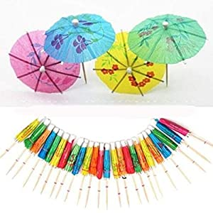 HOME REPUBLIC- Umbrella Wooden Toothpick 80pcs Paper Drink/Cocktail Umbrella/ – Luau Sticks/Party Fashion Cocktail…