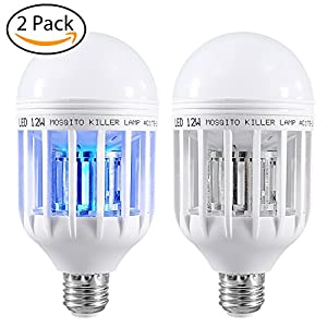2 Pack Mosquito Killer Lamp,Bug Zapper Light Bulb,Electronic Insect Killer,Fly Killer Indoor Bug Zapper 110V E26/E27 Light Bulb Socket Base for Home Indoor Outdoor Garden Patio Backyard