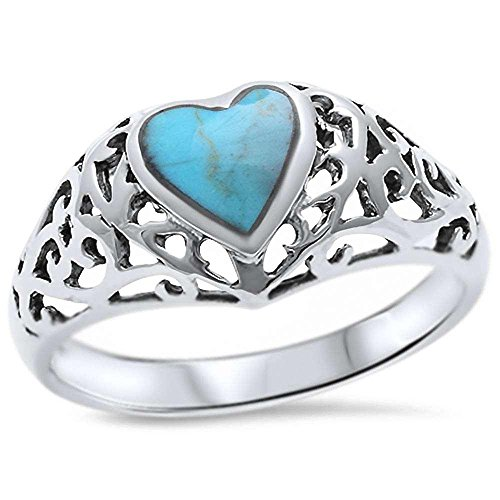 Green Turquoise Heart (Sterling Silver Green Heart Simulated Turquoise Filigree Victorian Ring Sizes 6-9 (10))