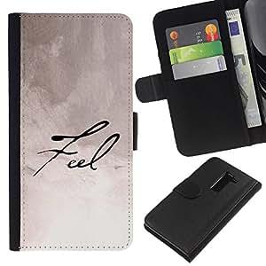 LG G2 D800 D802 D802TA D803 VS980 LS980 , la tarjeta de Crédito Slots PU Funda de cuero Monedero caso cubierta de piel ( Feel Calligraphy Paper Handwritten Note Ink)