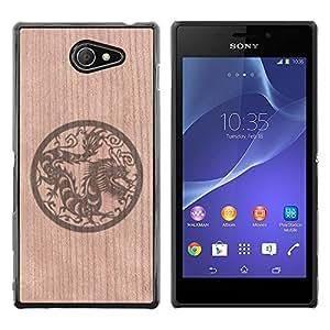 - / Dragon Mythical Oriental Sign Tag - - Funda Delgada Cubierta Case Cover de Madera / FOR Sony Xperia M2 s50h Aqua / Jordan Colourful Shop/