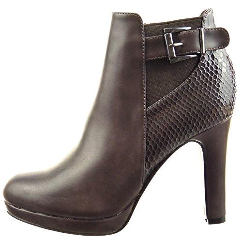 Sopily - Scarpe da Moda Stivaletti - Scarponcini chelsea boots donna pelle di serpente fibbia Tacco a blocco tacco alto 10 CM - soletta Foderato di Pelliccia - Marrone