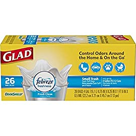 Glad OdorShield Small Trash Bags, Gain Original & Febreze, 4 Gal, 26 Ct - Pack of 6 (Package May Vary) 12 4 GALLON WHITE PLASTIC TRASH BAGS: Handle daily household and everyday demands with Glad's small sized 4 gallon garbage bag NEUTRALIZE ODOR: OdorShield technology guarantees protection against the strongest trash odor, refreshing any room with a Gain Original plus Febreze Freshness scent WASTEBASKET LINER: Glad 4 gallon trash can liners are great for small garbage cans, general household needs and just the right size for cars and on-the-go travel