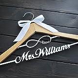 Custom Wedding Hanger, Personalized Bridal Hanger with Love Infinity, Wooden Wedding Hanger, Rustic Wedding Dress Hanger, Custom Bridal Shower Gift