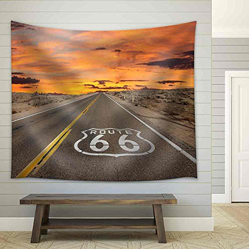 wall26 - Route 66 Pavement Sign Sunrise in California'S Mojave Desert. - Fabric Wall Tapestry Home Decor - 51x60 inches (Route 66 Tapestry)