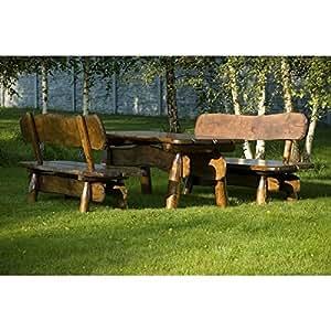 Timber Line Asiento Grupo rústico XL 200cm Outdoor Muebles de Jardín, color: teca; Material: roble