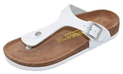 cec82d42bb1 Elcssuy Girls Women's Adjustable Flat Slides Thong Cork Sandals Open Toe  Double Buckle Footbed Summer Shoes