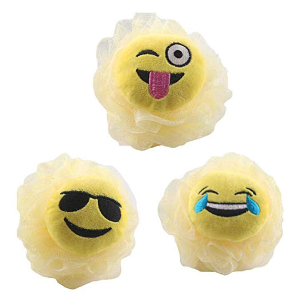 3 Pieces Bath and Shower Loofah Sponge For Kids- Non-toxic, Skin-friendly Terry Cloth Bath Mitt, Emoticon Pattern, Exfoliating, Improves Skin Health, Gift For Spa and Birthday Party Donhouse
