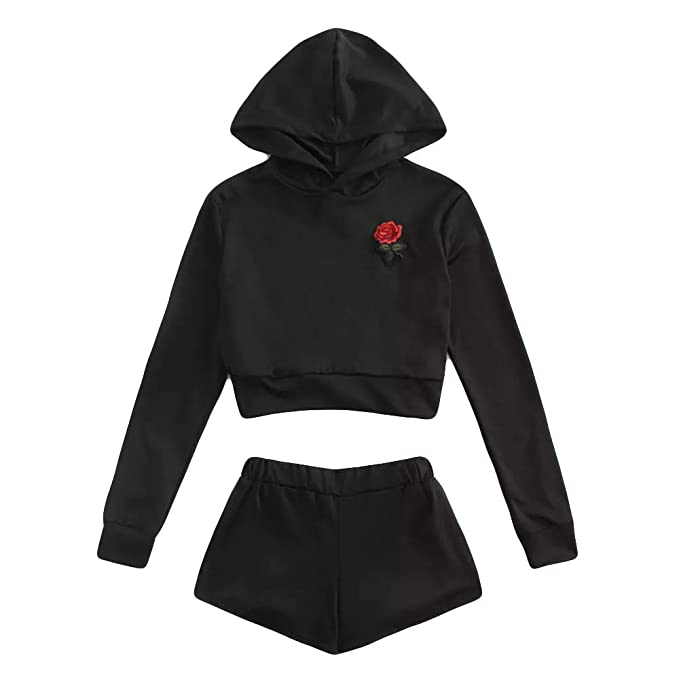 Bluse Damen REALIKE Frau Elegant Stickerei Langarm Hoodie Sweatshirt  +Shorts Anzug Mode Bauchfrei Einfarbig Bluse 43d6449e19