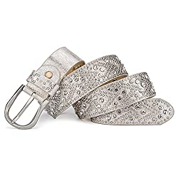 Rhinestone Studded Silver Gray Riveted Western Belt