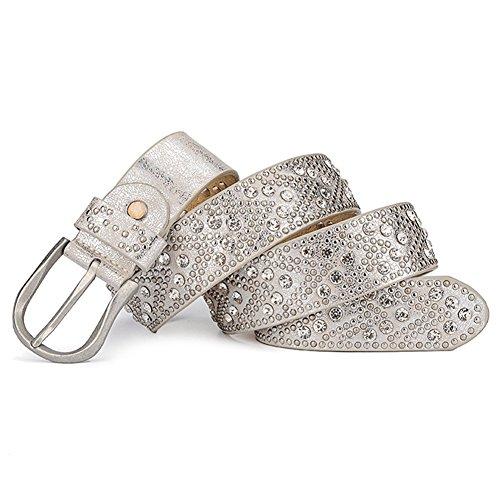 (YAMEZI Women's Silver White Retro PU And Cow Composite Rhinestone Studded Rivets Belt)