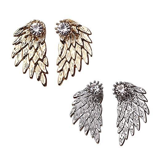 Cute Gothic Angel Wing Stud Earrings Ear Jacket for Women Unique Fashion MengPa Jewelry (Designer Heart Crystal Double)