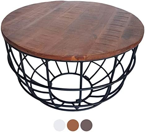 100% Origineel casamia salontafel woonkamertafel bijzettafel metalen frame rond of vierkant verschillende modellen kleur Reno ø 50 cm wit gekalkt axSiUiC