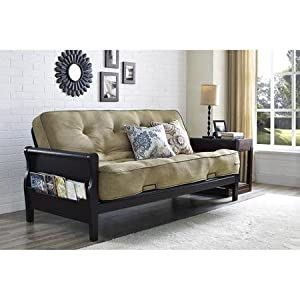 Better Homes Solid Wood Arm Metal Sofa Bed Futon With 8-Inches Mattress and Cushions in Oatmeal Linen