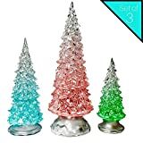 Banberry Designs LED Lighted Acrylic Christmas Trees Holiday Decoration Set of 3 Assorted Sizes 10'', 7.5'' & 5.5'' H