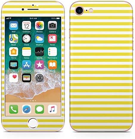 igsticker iPhone SE 2020 iPhone8 iPhone7 専用 スキンシール 全面スキンシール フル 背面 側面 正面 液晶 ステッカー 保護シール 009038 その他 シンプル ボーダー 黄色