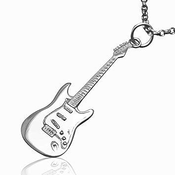 De plata de ley de Fender Stratocaster miniatura de la guitarra eléctrica collar con colgante de
