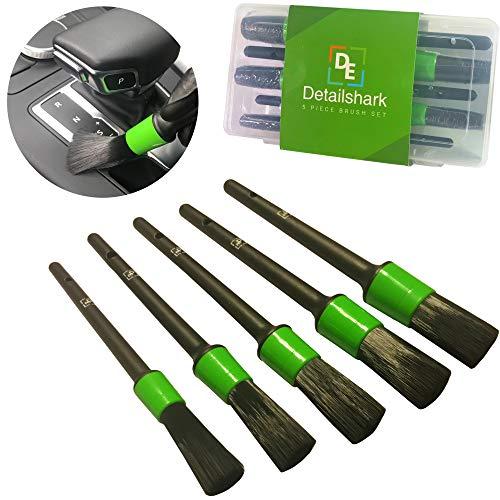 Detailshark Auto Detailing Brush Set (5) Best Car Detailing Brush Kit - Lug Nut/Leather/Wheel/Interior/Seat/Upholstery/Engine Washing - Reliable Brushes - Green