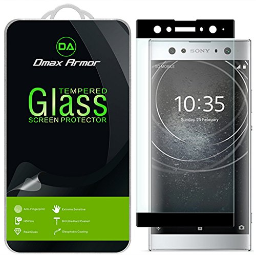 Dmax Armor for Sony Xperia XA2 Ultra Screen Protector, (Full Screen Coverage) [Tempered Glass] Anti-Scratch, Anti-Fingerprint, Bubble Free, (Black) ()