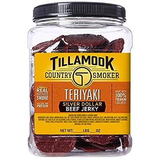 Tillamook Country Smoker All Natural, Real Hardwood Smoked Teriyaki Silver Dollar Jerky, 13.5 oz Jar