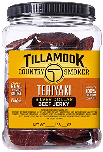 Tillamook Country Smoker All Natural, Real Hardwood Smoked Teriyaki Coin Jerky, 80-Count Coins (Country Slab Bacon)