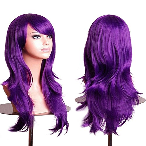 Purple Cosplay Wigs Long Hair Curly Wavy Wig With bangs Halloween Costume Anime Synthetic Spiral Wig 28 inch Free (Fake Wigs)