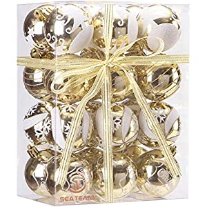 Sea Team 60mm/2.36″ Delicate Painting & Glittering Shatterproof Christmas Ball Ornaments Decorative Hanging Christmas Ornaments Baubles Set for Xmas Tree – 24 Counts (Gold)
