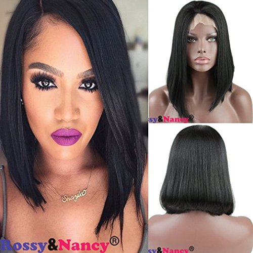 Rossy&Nancy Synthetic Hair Lace Front Bob Wigs Natural Black 12inch ()