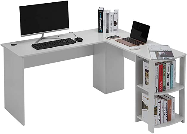 Escritorio de la Computadora en forma de L, Estación de Trabajo de la Esquina Grande, Mesa de Ordenador Moderna Escritorio para Hogar o Oficina Blanco,136*130*72cm: Amazon.es: Hogar