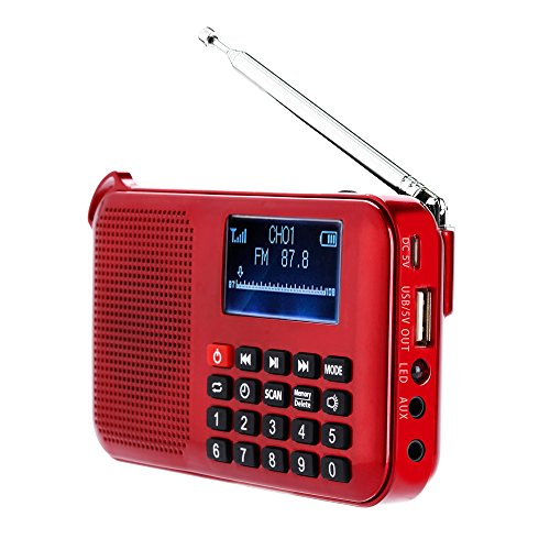 LCJ 388 Portable Solar Multiband FM Emergency Radio Receiver with Micro TF Card and USB Driver MP3 Player for USB Charging Cable 1000MAH Rechargeable Li-ion Battery (Red)