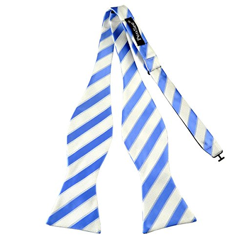 PenSee Mens Self Bow Tie Classic Stripe Woven Silk Bow Ties-Various Colors (Blue & White Stripes) (Stripe Bow)