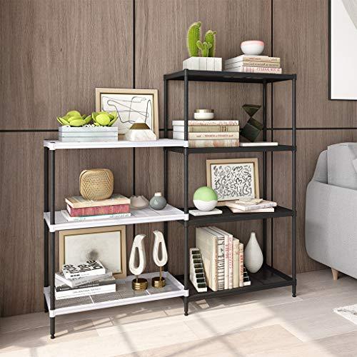 (Rackaphile 4+3 Tier Bookshelf Adjustable Shelving Metal Storage Display Shelf Bookcase Utility Kitchen Storage Rack Organizer for Under Staircase, Bathroom, Pantry, Black and White)