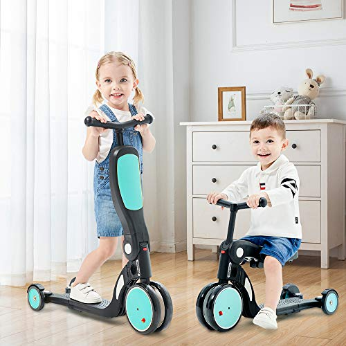beberoad Kids Scooter, 2020 5-in-1 Kids Tricycle for 2-6 Years Old with Foldable Seat and Adjustable Height Handlebar, Lightweight Multi-Functional Boys and Girls Balance Bike(Sky Blue)