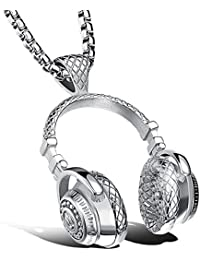 fashion Stainless Steel Headphone Pendant Necklace Men