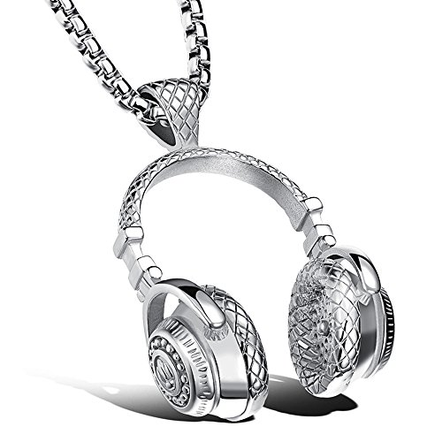 Apopo Swag Music Jewelry Headphone Pendant DJ Silver Necklace with 23' Chain - Silver