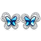 "KATE LYNN ""Butterfly Fairy"" Denim Blue Stud Earring Made with Swarovski Crystals- the Garden of Eden"