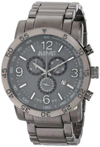 Cream Bracelet Watch Dial (August Steiner Men's AS8097GN Swiss Quartz Chronograph Grey Dial Gun Bracelet Watch)